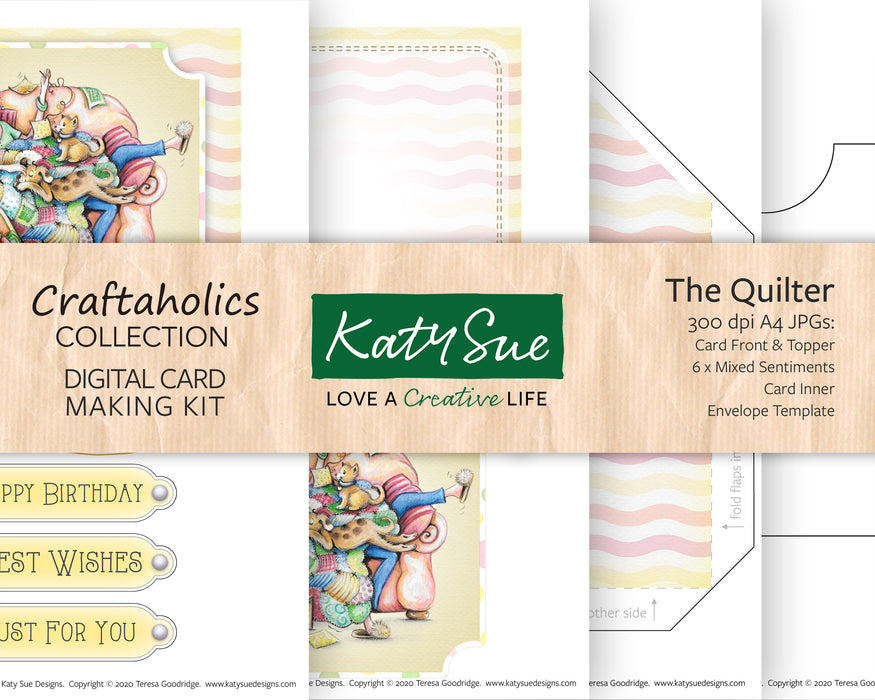 Craftaholics The Quilter | Digital Card Making Kit