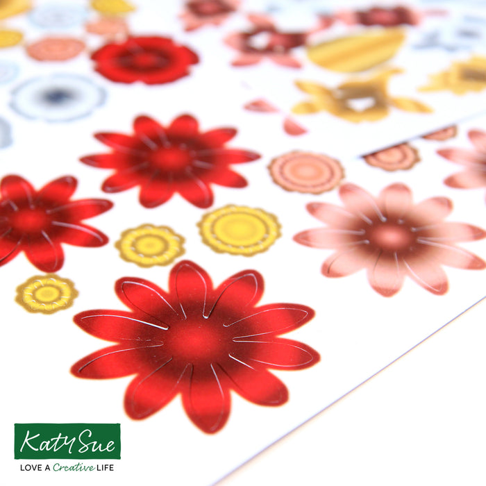 Chrome Effects - Die Cut Flowers  & Leaves (Pack of 12)