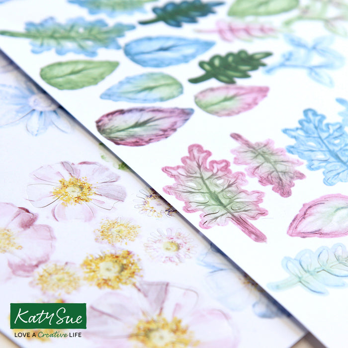 Icy Watercolour - Die Cut Flowers & Leaves (Pack of 12)