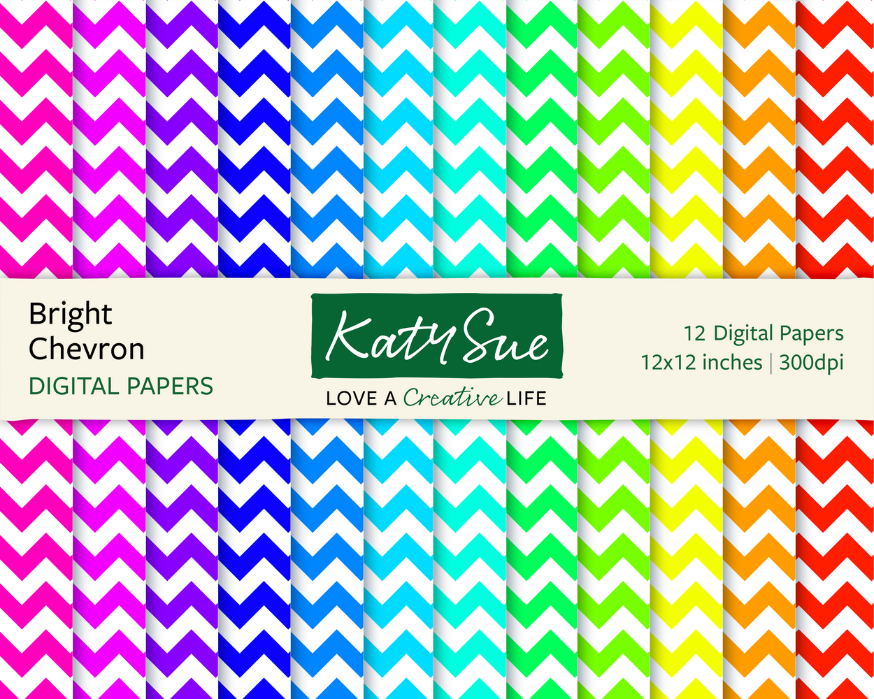 Bright Chevron | 12x12 Digital Papers
