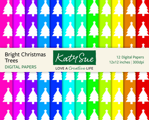 Bright Christmas Trees | 12x12 Digital Papers