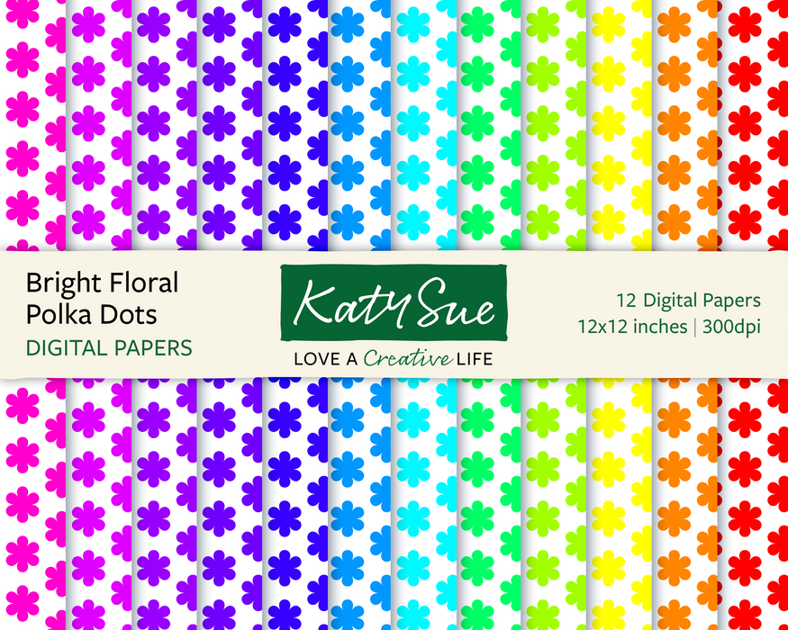 Bright Floral Polka Dots | 12x12 Digital Papers