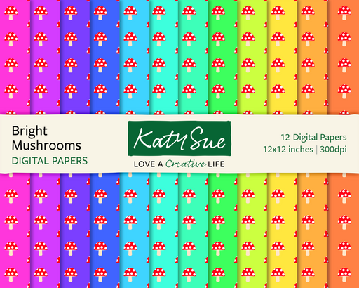 Bright Mushrooms | 12x12 Digital Papers