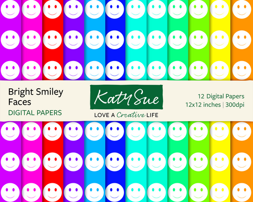 Bright Smiley Faces | 12x12 Digital Papers