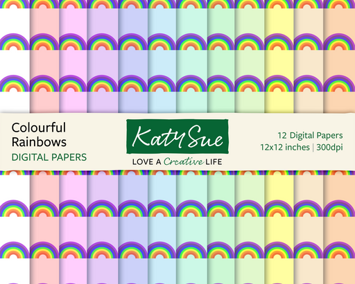Colourful Rainbows | 12x12 Digital Papers