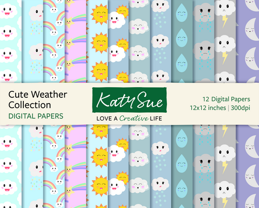Cute Weather Collection | 12x12 Digital Papers