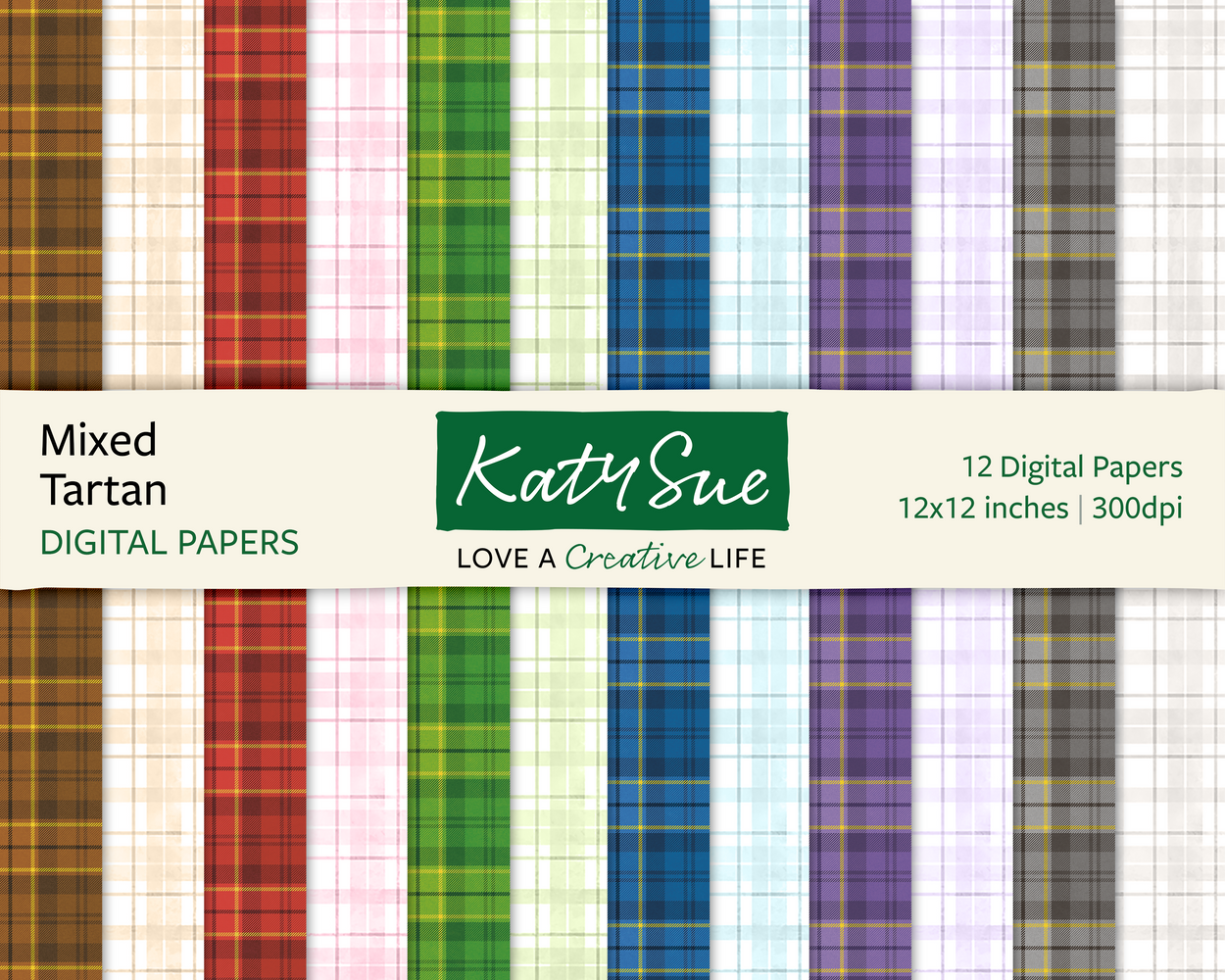 Mixed Tartan | 12x12 Digital Papers