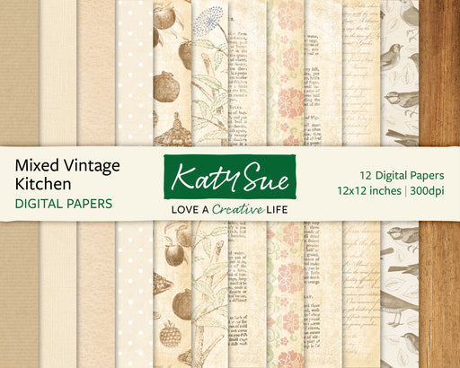Mixed Vintage Kitchen | 12x12 Digital Papers