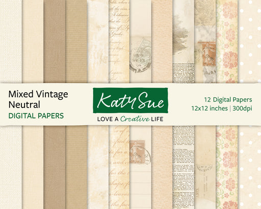 Mixed Vintage Neutrals | 12x12 Digital Papers