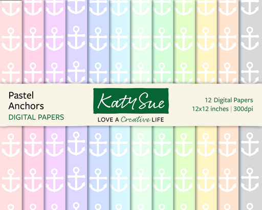 Pastel Anchors | 12x12 Digital Papers