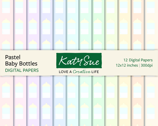 Pastel Baby Bottles | 12x12 Digital Papers