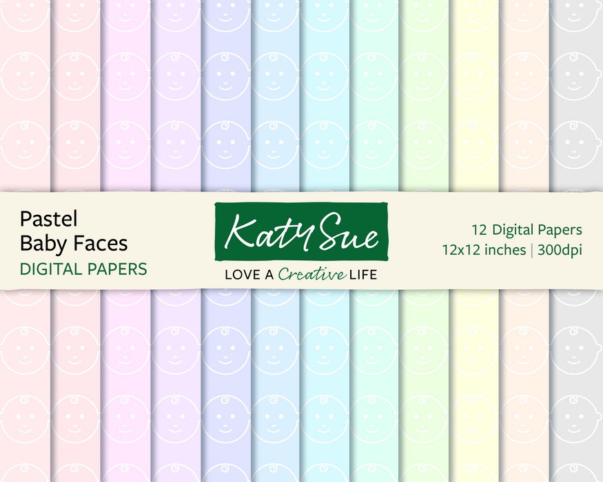 Pastel Baby Faces | 12x12 Digital Papers