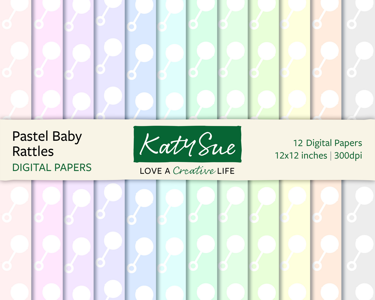 Pastel Baby Rattles | 12x12 Digital Papers