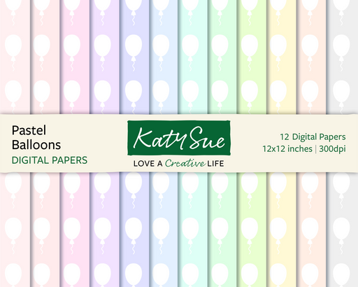Pastel Balloons | 12x12 Digital Papers