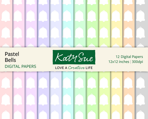Pastel Bells | 12x12 Digital Papers