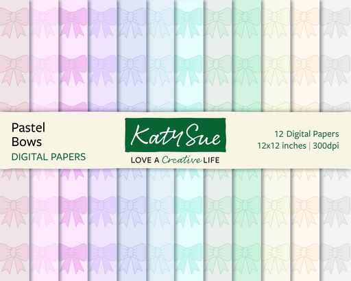 Pastel Bows | 12x12 Digital Papers