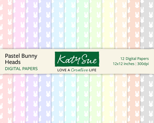 Pastel Bunny Heads | 12x12 Digital Papers