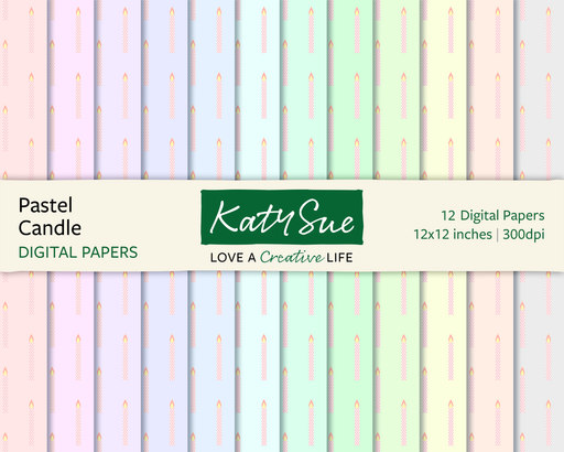 Pastel Candles | 12x12 Digital Papers