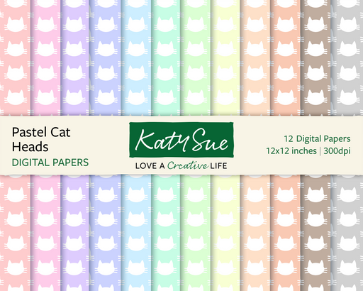 Pastel Cat Heads | 12x12 Digital Papers
