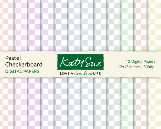 Pastel Checkerboard | 12x12 Digital Papers
