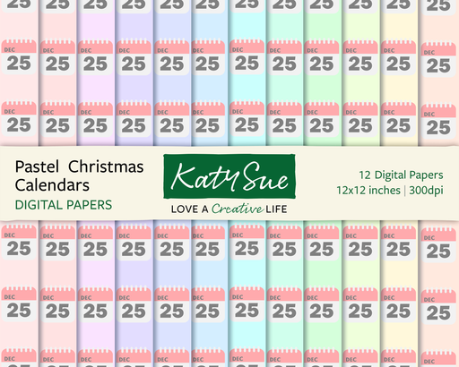 Pastel Christmas Calendars | 12x12 Digital Papers