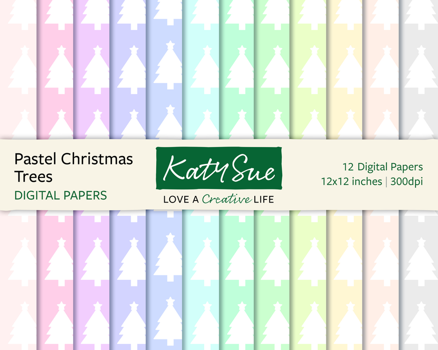Pastel Christmas Trees | 12x12 Digital Papers