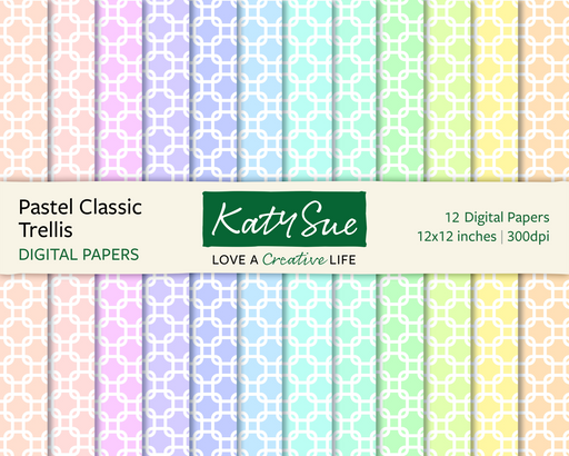 Pastel Classic Trellis | 12x12 Digital Papers