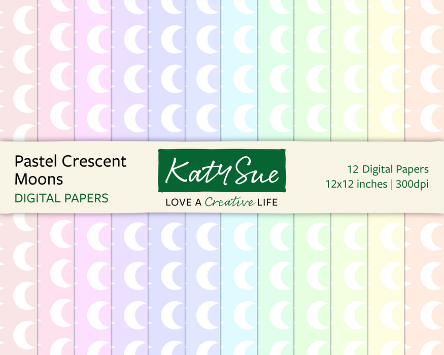Pastel Crescent Moons | 12x12 Digital Papers
