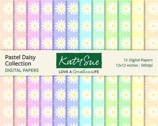 Pastel Daisy Collection | 12x12 Digital Papers