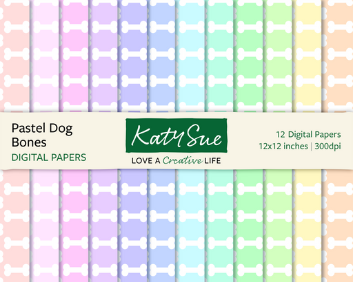 Pastel Dog Bones | 12x12 Digital Papers