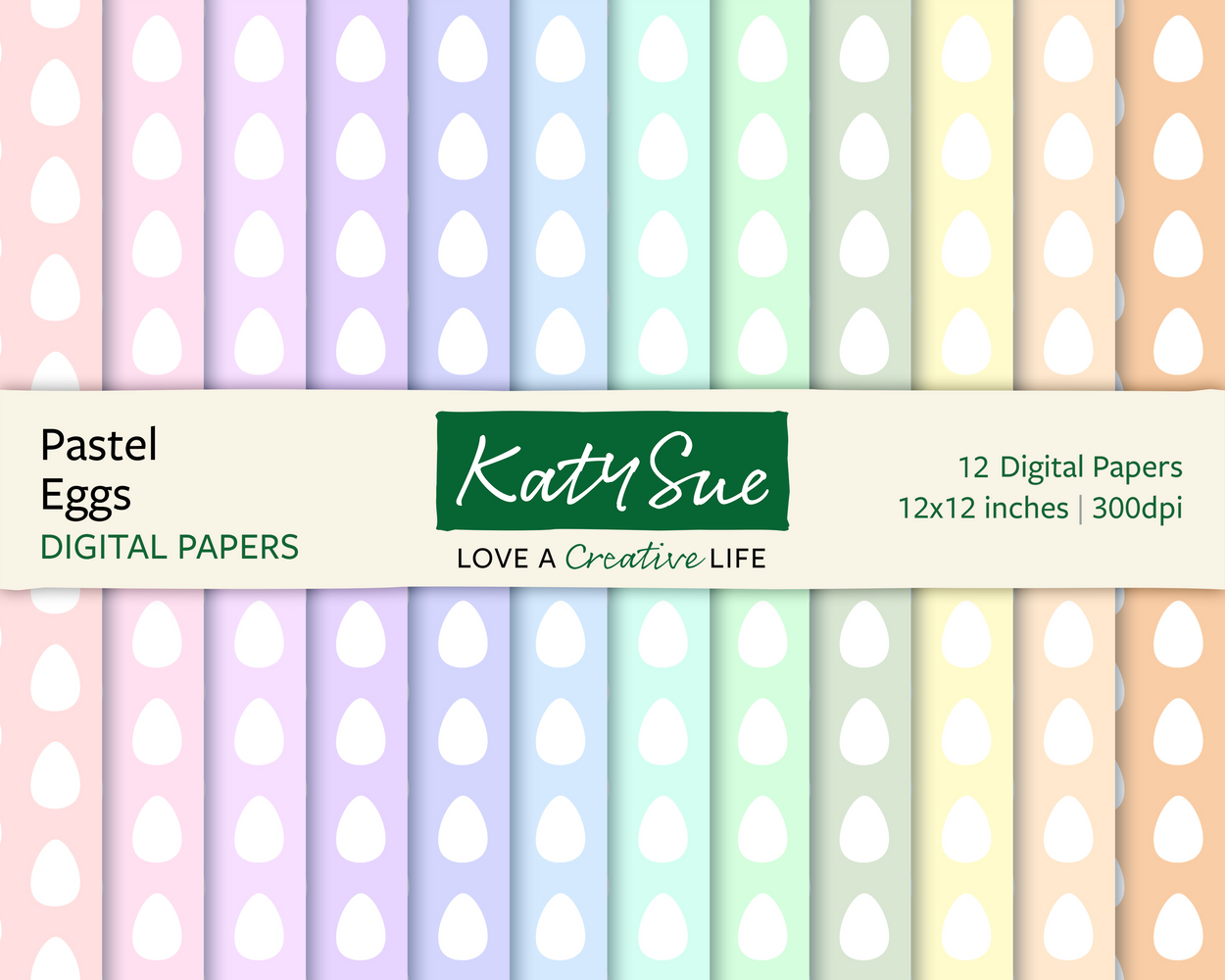 Pastel Eggs | 12x12 Digital Papers