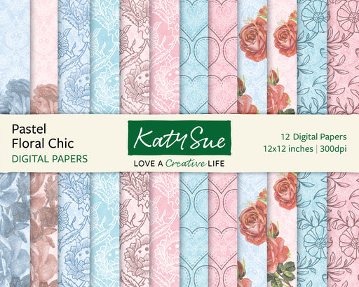 Pastel Floral Chic | 12x12 Digital Papers