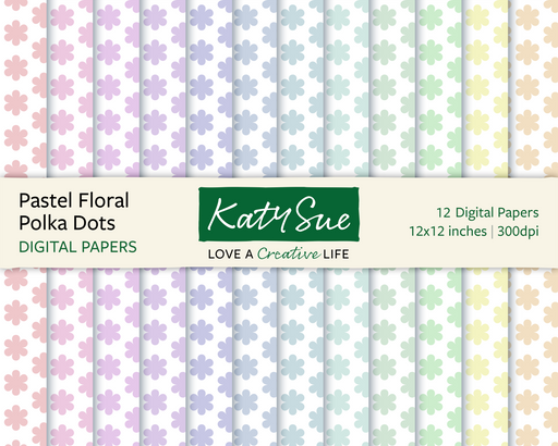Pastel Floral Polka Dots | 12x12 Digital Papers
