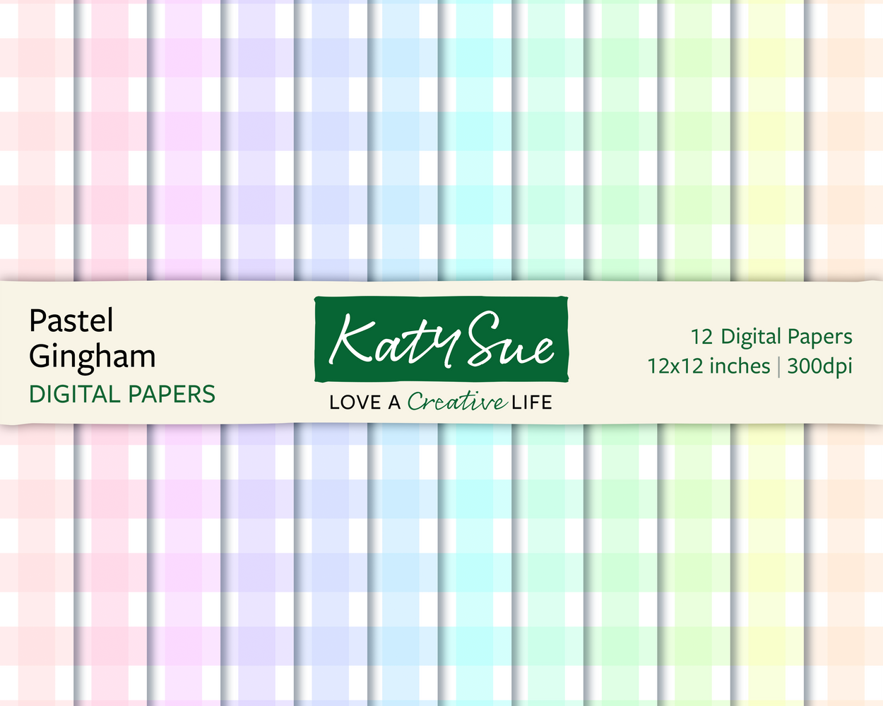Pastel Gingham | 12x12 Digital Papers