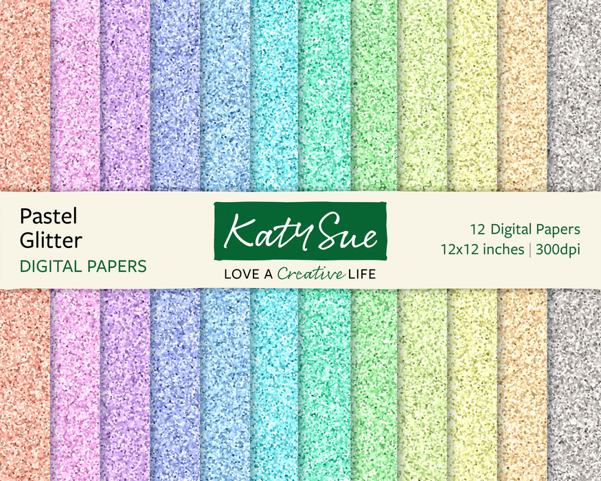 Pastel Glitter | 12x12 Digital Papers