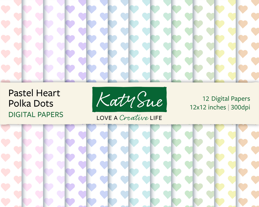Pastel Heart Polka Dot | 12x12 Digital Papers