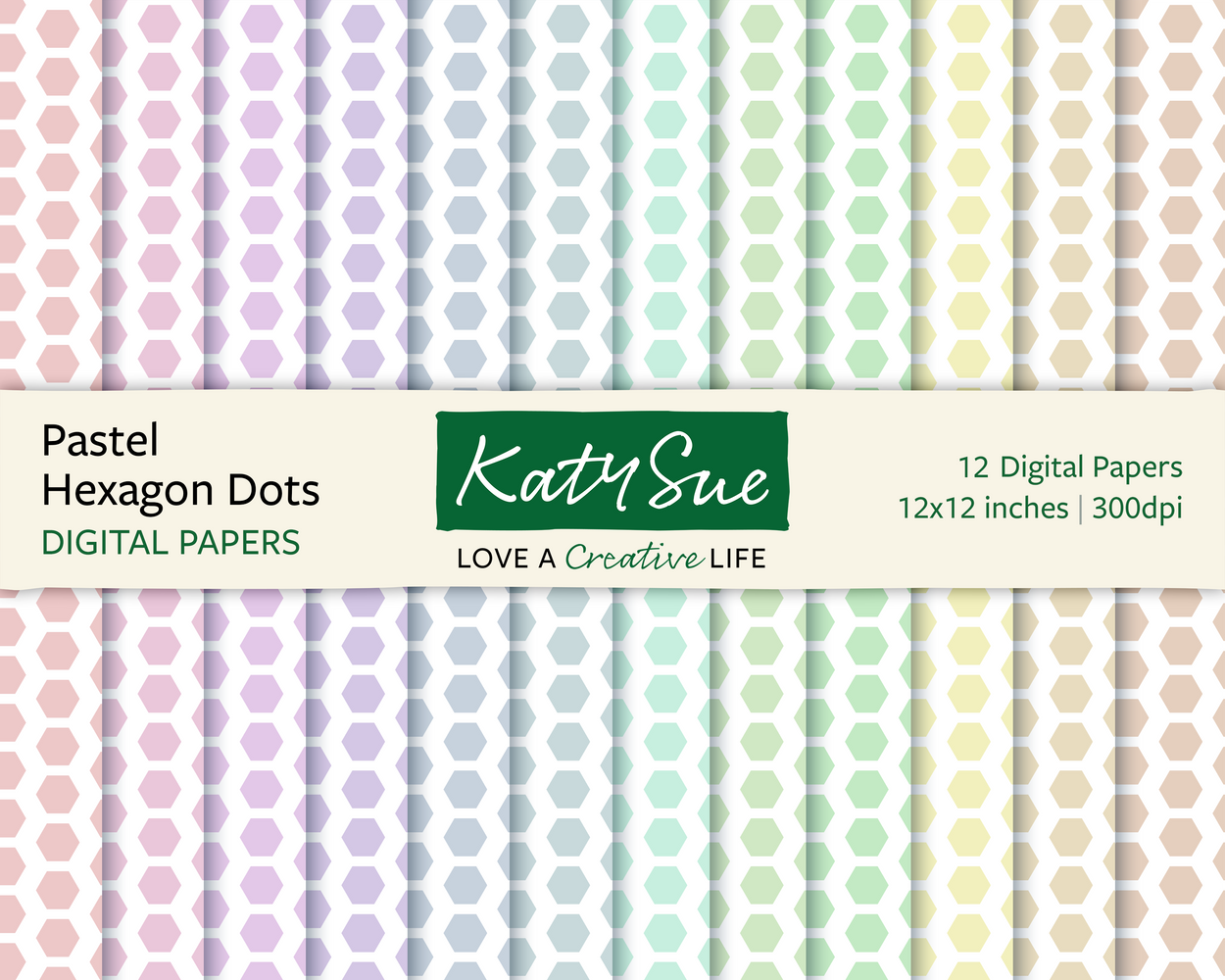 Pastel Hexagon Dots | 12x12 Digital Papers