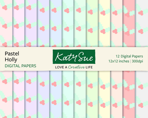 Pastel Holly | 12x12 Digital Papers