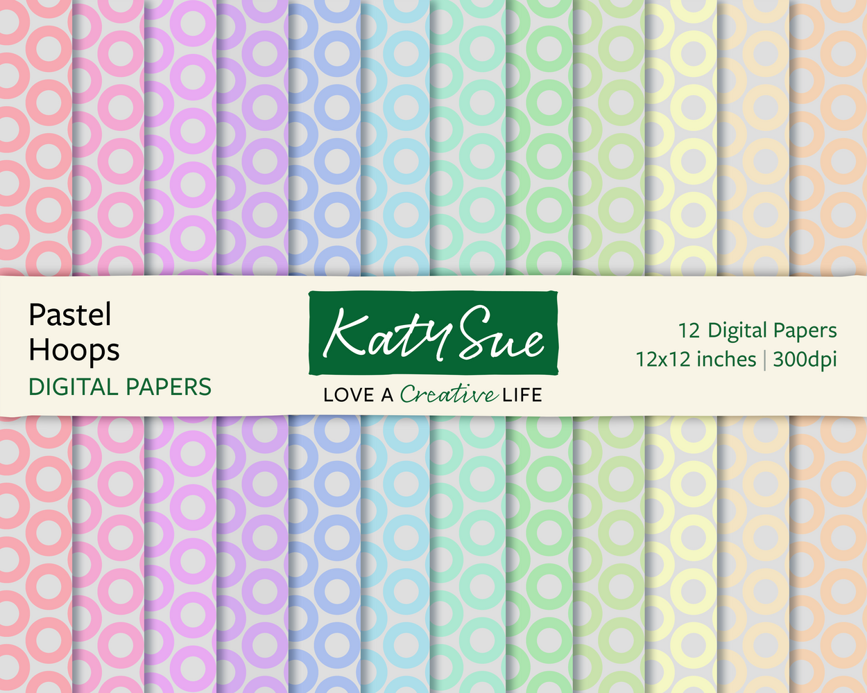 Pastel Hoops | 12x12 Digital Papers