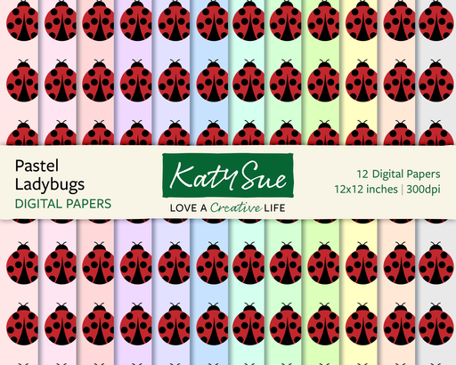Pastel Ladybugs | 12x12 Digital Papers