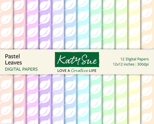 Pastel Leaves | 12x12 Digital Papers