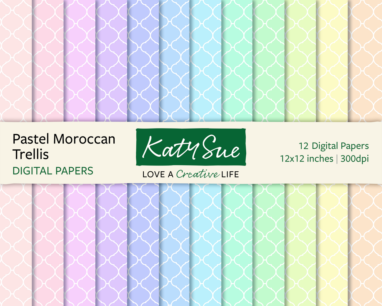 Pastel Moroccan Trellis | 12x12 Digital Papers