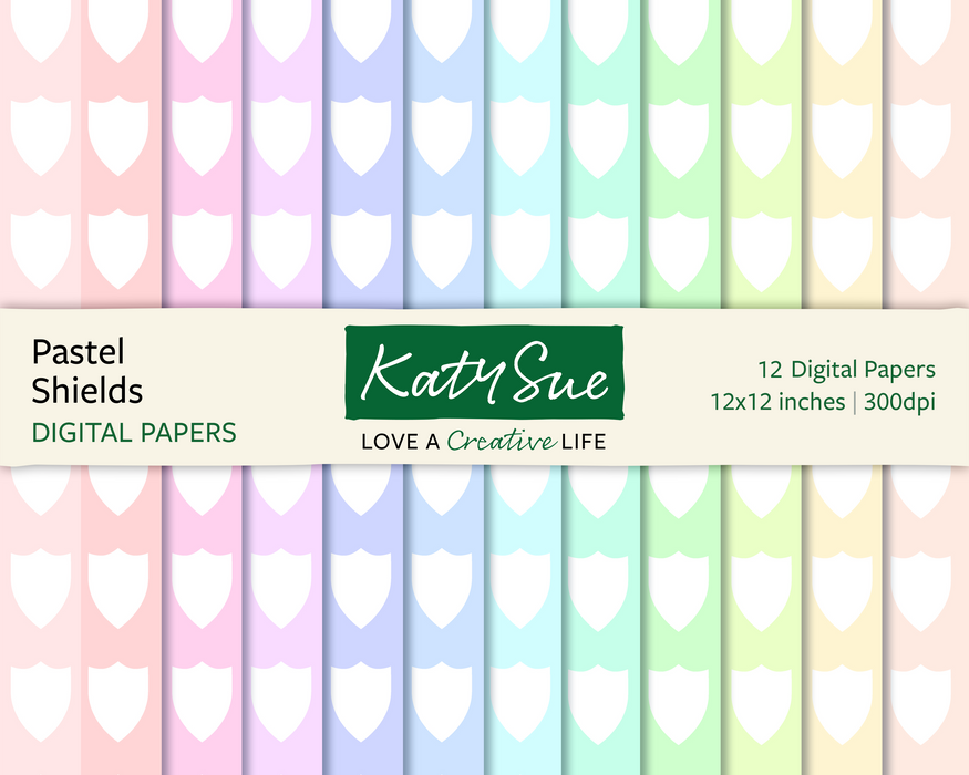 Pastel Shields | 12x12 Digital Papers