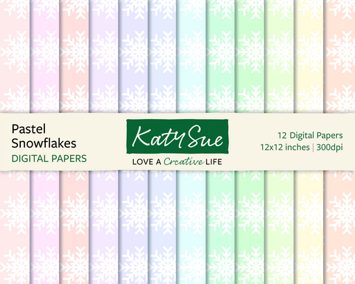 Pastel Snowflakes | 12x12 Digital Papers
