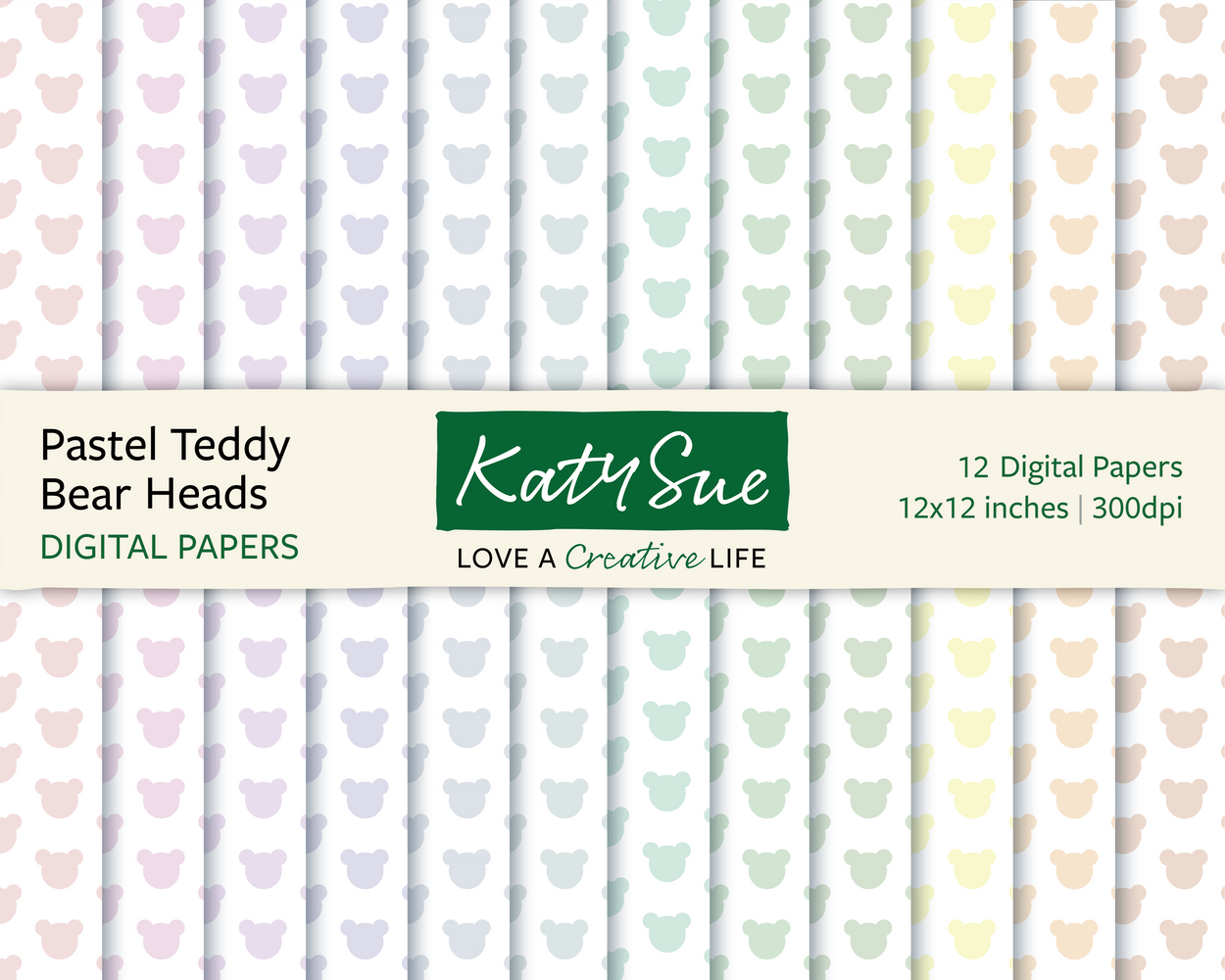 Pastel Teddy Bear Heads | 12x12 Digital Papers