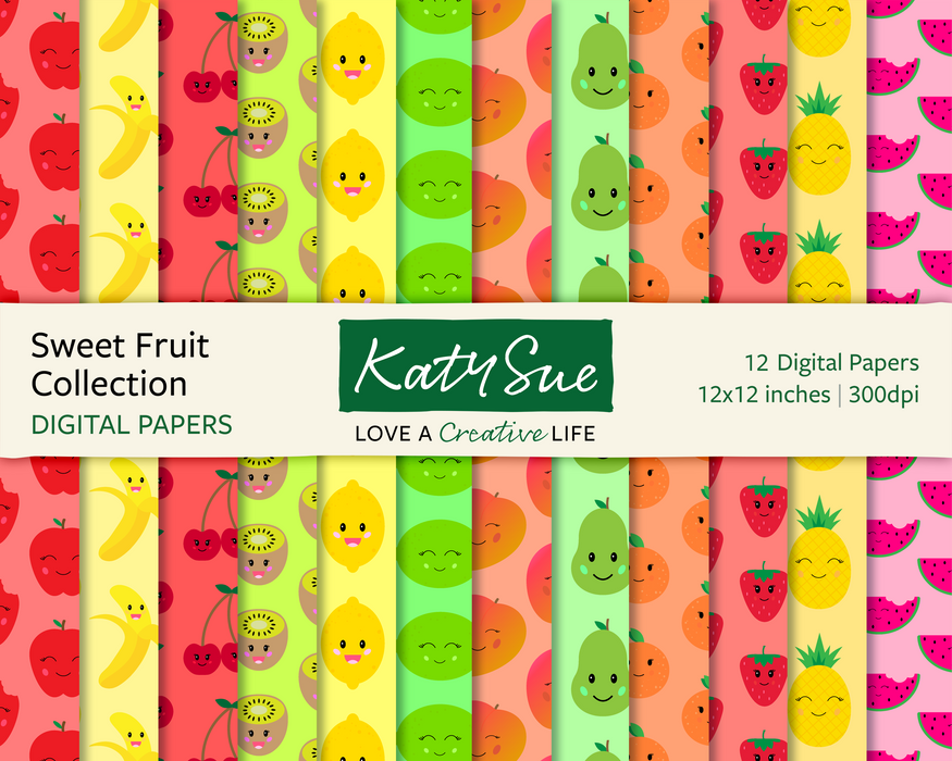 Sweet Fruit Collection | 12x12 Digital Papers