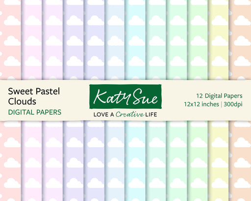Sweet Pastel Clouds | 12x12 Digital Papers