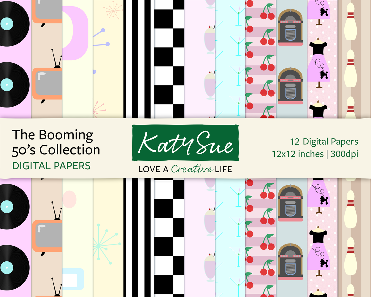 The Booming 50s Collection | 12x12 Digital Papers