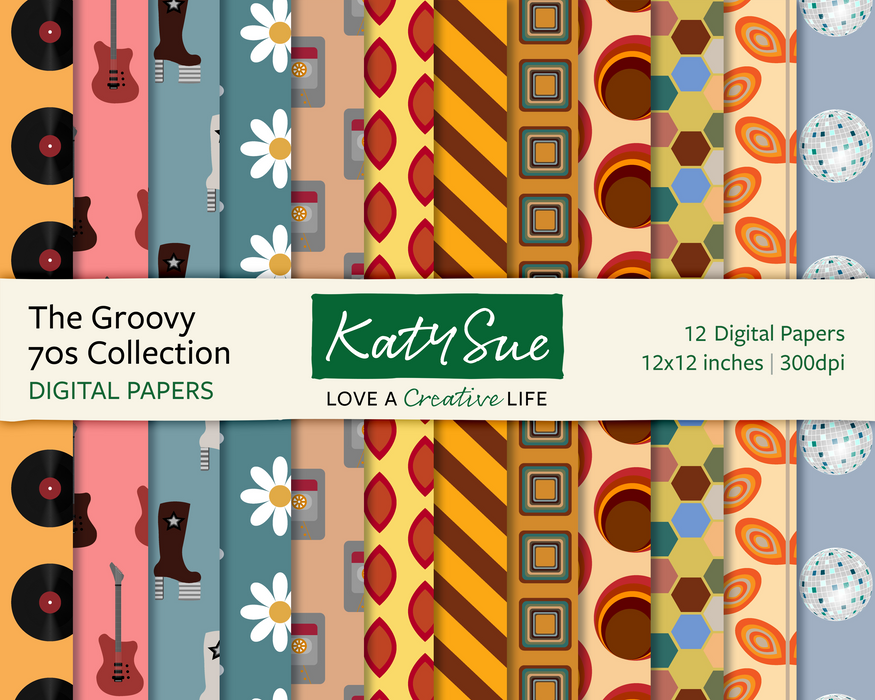 The Groovy 70s Collection | 12x12 Digital Papers