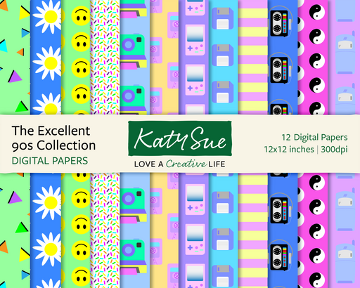 The Excellent 90s Collection | 12x12 Digital Papers